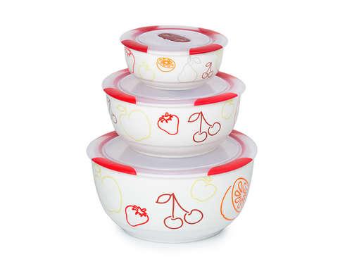 3 set ceramic bowls, BS2981RC/DC, Dark cerry
