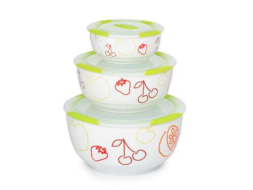 3 set ceramic bowls, BS2981RC/GA, Green apple